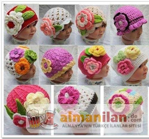 rengarenk-örgü-bebek-şapkaları